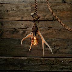 Antler Shed Pulley Light - Barn wood Pendant Light -Manila Rope Light - rustic Chandelier - Industrial Lighting - Vintage lighting Log Cabin