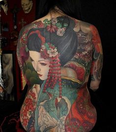Land of the Rising Sun back-piece by Jeff Gogue Japanese Tattoo Sleeve Samurai, Japanese Back Tattoo, Japanese Tattoo Women, Japanese Tattoo Symbols, Japanese Tattoo Designs, Japanese Geisha Tattoo, Jeff Gogue, Forarm Tattoos, Body Art Tattoos