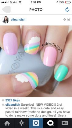 23 Designs to Get Inspired for Painting Pastel Nails – The Best Nail Designs – Nail Polish Colors & Trends Pastel Nail Art, Cute Acrylic Nails, Cute Nail Art, Cute Nails, Pretty Nails, Nails For Kids, Girls Nails, Nail Art For Girls, Spring Nail Art