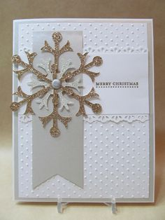 Savvy Handmade Cards: Big Shot; versamark stamp pad and champagne pearl embossing powder; edgelits by SU; snow flurry bigz die; champagne and silver glimmer papers