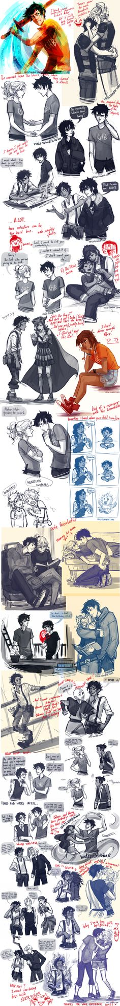 All time favorite Percy Jackson pin! This is incredible! And avatar and Jack Frost cross overs! I wish so badly that I could draw like this! and OMG PERCABETH Percy Jackson Memes, Percy Jackson Books, Percy Jackson Fandom, Viria Percy Jackson, Percabeth, Solangelo, Fanart, Oncle Rick, All The Bright Places