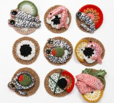 This site is pretty darn cool- crocheted food, bugs and pantry items..
