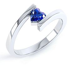 Blue Sapphire Heart Stackable Silver Crossover Ring I. UK rings. Women rings. Women fashion. Jewellery. Women style. UK fashion. Women gift. Gift for her. Wife gift. Girlfriend gift. It's an Amazon affiliate link.