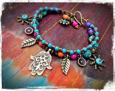 Mano de Hamsa PULSERA Fátima pulsera étnica Tranquilidad Hippie Gypsy pulsera turquesa pulsera apilable Sun Boho Bohemia joyas GPyoga