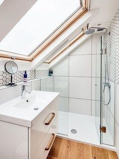 If you are looking for Small Attic Bathroom Design Ideas, You come to the right place. Below are the Small Attic Bathroom Design Ideas. Small Attic Bathroom, Attic Bedroom Small, Loft Bathroom, Guest Bathrooms, Attic Rooms, Attic Spaces, Bathroom Design Small, Bathroom Interior Design, Home Interior