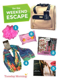 A weekend getaway should be relaxing. Fill your bag with items perfect for some pampering! #TuesdayMorning