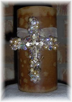 4 inch beaded wire Wall Cross inspiration on a candle