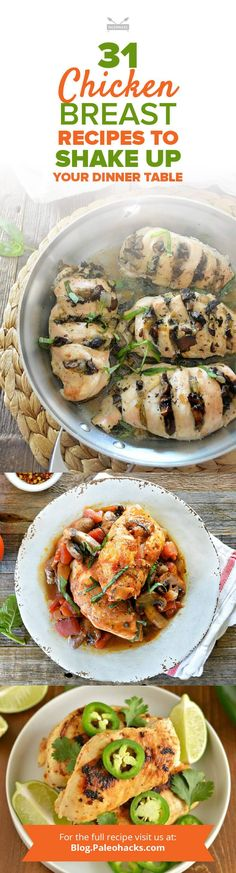 Many meals revolve around chicken. It's versatile, easy to make, and a safe bet with every family member. However, grilled chicken breasts can get a little boring when relying on them for a quick dinner time and time again. Get the recipes here: http://paleo.co/chuckbreastrcps