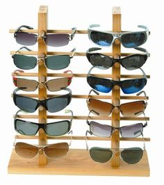 Another wooden sunglasses display