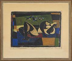 """JØRLEIF UTHAUG ØRLANDET 1911 - OSLO 1990  """"Figur og fugler"""" 1958 Litografi og gouache, eget trykk, 41x57 cm Signert nede til venstre: Jørleif Uthaug 1958"""