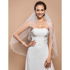 Elegant Two-tier Fingertip Wedding Veil With Beaded Edge – USD $ 29.99