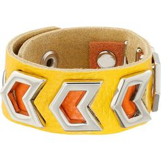 Gypsy SOULE Leather Arrow Cutout Bracelet, Yellow ($33) ❤ liked on Polyvore featuring jewelry, bracelets, yellow, western bracelet, western jewelry, leather snap bracelet, snap button bracelet and leather bangle