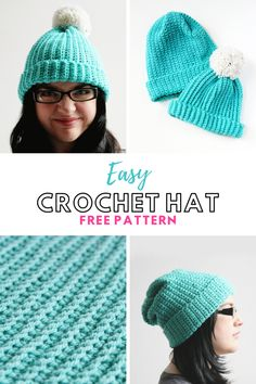 Learn how to make this Easy Crochet Hat using this free pattern. This cute and stylish hat is made from a simple rectangle. A great project for a beginner. If you can single crochet you can make this hat #crochet #crochethat #freepattern #crochetpattern #hat
