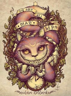 """My take on Lewis Carroll's classic tale """"Alice in Wonderland"""", featuring Cheshire Cat Eng/ WE ARE ALL MAD HERE! Cheshire cat is here! Save the date ----> as . Lewis Carroll, Cheshire Cat Art, Chesire Cat, Cheshire Cat Tattoo, Cheshire Cat Wallpaper, Cheshire Cat Disney, Tattoo Gato, Desenho Tattoo, Hippie Kunst"""