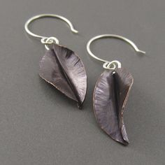 Darkened Copper Fold Formed Leaf Earrings