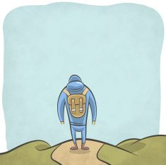 Mountain hiker walking in the wild vector art illustration