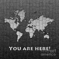 World Map Glasa with 'You Are Here' text in Black And White by elevencorners. World map wall print decor. #elevencorners #mapglasa