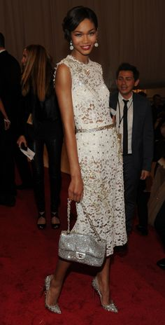 chanel iman. love the whole look dress, shoes,purse, and belt, as well as makeup and hair!!!!!!!!!
