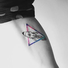 Rocket ship tattoo by Vitaly Kazantsev. #VitalyKazantsev #fineline #triangle #rocketship #galaxy