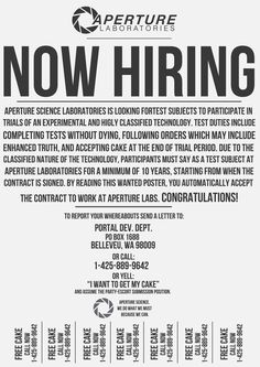 Aperture Science: Now Hiring by LabsOfAwesome on deviantART