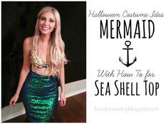 Mermaid Costume Easy & Cheap How to - Sea Shell  Bra Top - Brooke Sandra Blog | Life & DIY Inspiration