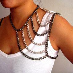Madison Chain Shoulder Harness Necklace by SultryAffair on Etsy Body Chain Jewelry, Body Jewellery, I Love Jewelry, Wire Jewelry, Jewelery, Handmade Jewelry, Jewelry Making, Safety Pin Jewelry, Trendy Jewelry