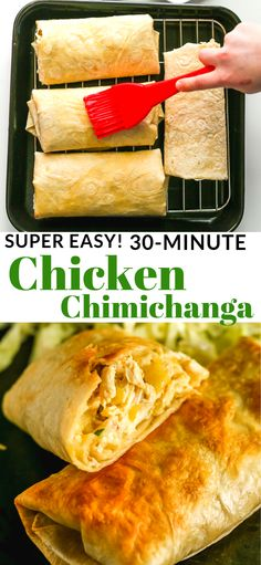 Delicious Chicken Chimichanga Recipe - it is a baked burrito, stuffed with chicken, cheese and mild chilies. Delicious Chicken Chimichanga Recipe - it is a baked burrito, stuffed with chicken, cheese and mild chilies. Good Food, Yummy Food, Comida Latina, Think Food, Le Diner, Yum Yum Chicken, Food Dishes, Main Dishes, Foodies