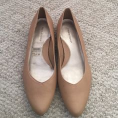 Beige shoes with tiny heel New condition! Worn once. No flaws and basically new. Predictions Shoes Flats & Loafers