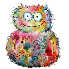 Wandtattoo – Hagenmeyer – Happy Monster The post Wandtattoo – Hagenmeyer – Happy Monster appeared fi Watercolor Owl, Watercolor Illustration, Watercolor Paintings, Watercolours, Kids Room Art, Art For Kids, Zentangle, Happy Monster, Monster Illustration