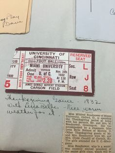 Football has long been a sport that attracts both sexes. Mildred Readnower and a friend of hers attended the U.C. vs MU game in 1932. Readnower was the female class president and she was also well known in society social circles. Her attendance along with her family to this game was well documented in the Ohio papers. #MUArchives #Box1scrapbookandmemorabiliaofMildredReadnowandBleriotLamar