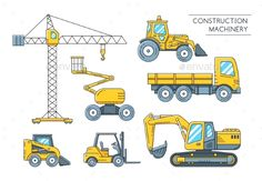 Heavy Construction Machinery Transport Outline - Objects Vectors