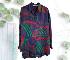 Abstract Print 90's Silk Tunic Blouse