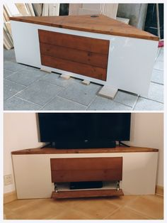 Hoekkast tv meubel met push-to-open lade en klep. Credenza, Flat Screen, Cabinet, Storage, Furniture, Home Decor, Blood Plasma, Clothes Stand, Purse Storage