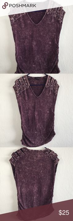 Cute decorative studded top Rock Republic Purple Size : Small 60% Cotton, 40% Modal  -Really cute purple top with geometric studs on the 4 shoulders.  Colors may vary due to lighting, seller does its best to portray the right color. Rock Republic Tops
