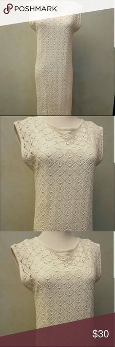 White knit sweater Joe fresh sleeveless  White knit dress in perfect condition like new, has a white lining under Joe Fresh Dresses Maxi