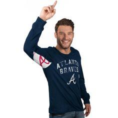 MLB Atlanta Braves Hands High Long Sleeve T-Shirt - Navy