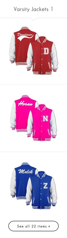 """""""Varsity Jackets 1"""" by mstamer2017 ❤ liked on Polyvore featuring one direction, jackets, 1d, casacos, outerwear, teddy jacket, varsity style jacket, varsity bomber jacket, letterman jackets and varsity jacket"""