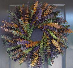 Year Round Eucalyptus Wreath- Purple, Amber and Sage- Dried Floral Wreath- Eucalyptus Fragrance- Natural Eucalyptus Oil on Etsy, $60.00