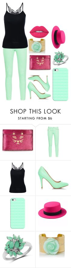 """""""Megan H."""" by ashleeramme on Polyvore featuring Charlotte Olympia, French Connection, Casetify, Malaika, Irene Neuwirth and Lime Crime"""