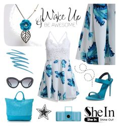Wake Up & be awesome by ixela on Polyvore featuring moda, IXELA, Burberry, Prada, NARS Cosmetics, Pratesi, Blue, Sheinside, turquoise, jumpsuit and IXELA