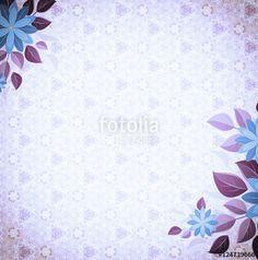 Vintage vignette with flower corners, violet