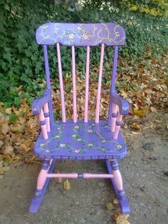 Little Pink Flowers rocking chair by MissEllenJoy on Etsy, $70.00