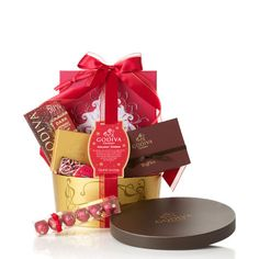 Our Holiday Cheer Gift Basket is sure to bring smiles to the whole office.  #GODIVA