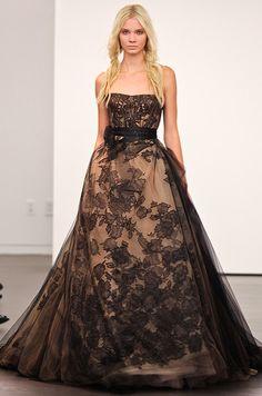 Vera Wang black wedding dress, Fall 2012. See more #wedding fashion: http://ccwed.me/KIp6ZC