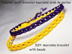 Tutoriel: petit bracelet macramé orné de perles (DIY: macrame bracelet with beads) - YouTube