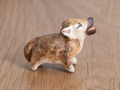 Howling baby wolf, polymer clay totem by lifedancecreations.deviantart.com on @DeviantArt