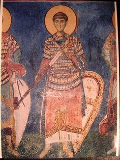 Medieval warrior saint, from Nerezi church, Serbia