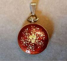 Montreux Red Smalt 18K Yellow Gold kapesní hodinky - 17 Jewels Mint Běh