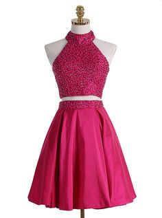 Prom Dresses For Teens, homecoming dresses,A-line short dresses, two pieces open back beading short dress,cute dress Dresses Modest Backless Homecoming Dresses, Elegant Bridesmaid Dresses, Prom Dress Stores, Beaded Prom Dress, Dresses Short, Dresses For Teens, Sexy Dresses, Cute Dresses, Formal Dresses