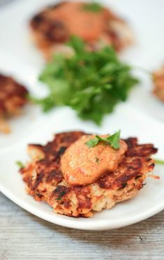 These are amazing.  Perfect for dinner or an appetizer! Cajun Crabcakes with Remoulade Sauce Low Calorie Low Fat Healthy Recipe - aha